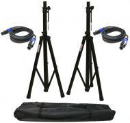 (2) DJ PA Speaker Universal Stands and (2) 15 Foot Speakon Audio Cables Packages