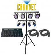 Chauvet Lighting 4Play & 4Bar Combo Stand Light Package System with (2) DMX Cables & Amer...
