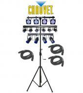 Chauvet DJ Lighting 6SPOT, 4PLAY & 4BAR Combo LED Light Package with (3) DMX Cables & Cra...