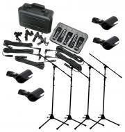 Peavey PVM DMS-5 Complete 5 Piece Drum Recording Microphone Package with (4) Boom Mic Stands