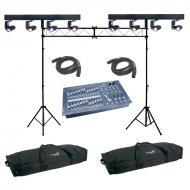 American DJ (2) Event Bar Q4 Four Head Pinspot RGBW Color LED Bar Light with Stage Designer 50, T...