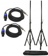 "(2) DJ PA Speaker Universal Stands and (2) 15 Foot Speakon to 1/4"" Jack Audio Cables Packages"