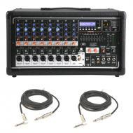 """Peavey PVI 8500 Pro Audio 8 Channel Powered 400 Watt Mixer with (2) 1/4"""" Speaker Cables Package"""