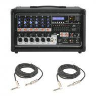 """Peavey PVI 6500 Pro Audio 6 Channel Powered 400 Watt Mixer with (2) 1/4"""" Speaker Cables Package"""