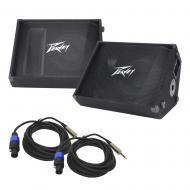 """(2) Peavey PV 12M Pro Audio DJ Passive 12"""" Stage Monitor 1000W Speaker with 1/4"""" to Spe..."""