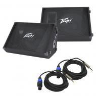 """(2) Peavey PV 15M Pro Audio DJ Passive 15"""" Stage Monitor 1000W Speaker with 1/4"""" to Spe..."""