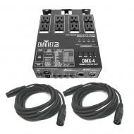 Chauvet DMX-4 4-Channel Dimmer/Relay Pack with (2) 15 Ft Length 3-Pin DMX Cable