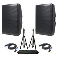 American DJ (2) CPX 15A 2-Way Active Speakers w/ Tripod Stands & Speakon Cables