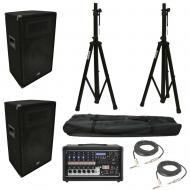 """(2) Harmony HA-V12P 12"""" DJ PA Speaker Peavey PV 6500 Powered Mixer Cables Stands"""