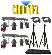 Chauvet DJ Lighting (2) 4Play Multi Color LED Moonflower Effect Bar Light with (2) DMX Cables &am...