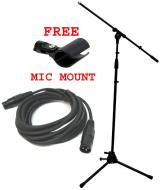 Pro Audio DJ Tripod Adjustable Height Boom Mic Microphone Stands W/ XLR Cable & Free Mic Mount