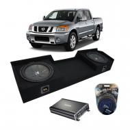 Compatible with 04-15 Nissan Titan King or Crew Kicker CompR CWR10 Dual 10 Sub Box CX1200.1