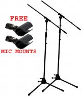 (2) Pro Audio DJ Tripod Adjustable Height Boom Mic Microphone Stands & (2) Free Mic Mounts