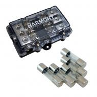 Harmony Audio HA-AGUFD3 Car 3-Way AGU Fused Distribution Block & 80 Amp Fuses