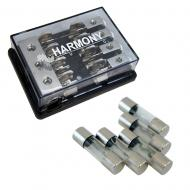 Harmony Audio HA-AGUFD4 Car 4-Way AGU Fused Distribution Block & 80 Amp Fuses