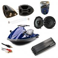 "Yamaha Wave Runner PWC Marine Kicker KSC50 & PXA300.4 Amp Custom 5 1/4"" Black Speaker Po..."
