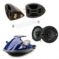 "Yamaha Wave Runner PWC Marine Kicker System KSC50 Custom 5 1/4"" Gloss Black Speaker Pods"