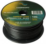 Harmony Audio HA-PW12BLACK Primary Single Conductor 12 Gauge Black Power or Ground Wire Roll 100 ...