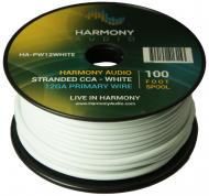 Harmony Audio HA-PW12WHITE Primary Single Conductor 12 Gauge White Power or Ground Wire Roll 100 ...