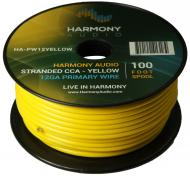 Harmony Audio HA-PW12YELLOW Primary Single Conductor 12 Gauge Yellow Power or Ground Wire Roll 10...