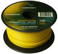 Harmony Audio HA-PW18YELLOW Primary Single Conductor 18 Gauge Yellow Power or Ground Wire Roll 10...