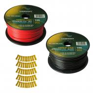 Harmony Audio Primary Single Conductor 12 Gauge Power or Ground Wire - 2 Rolls - 200 Feet - Red &...