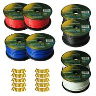 Harmony Audio Primary Single Conductor 12 Gauge Power or Ground Wire - 8 Rolls - 800 Feet - 4 Col...