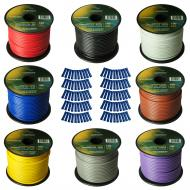 Harmony Audio Primary Single Conductor 14 Gauge Power or Ground Wire - 8 Rolls - 800 Feet - 8 Col...