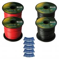 Harmony Audio Primary Single Conductor 16 Gauge Power or Ground Wire - 4 Rolls - 400 Feet - Red &...