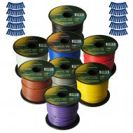 Harmony Audio Primary Single Conductor 16 Gauge Power or Ground Wire - 8 Rolls - 800 Feet - 8 Col...