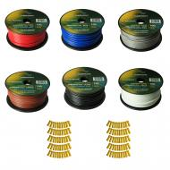 Harmony Audio Primary Single Conductor 12 Gauge Power or Ground Wire - 6 Rolls - 600 Feet - 6 Col...