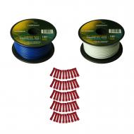 Harmony Audio Primary Single Conductor 18 Gauge Power or Ground Wire - 2 Rolls - 200 Feet - White...