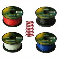 Harmony Audio Primary Single Conductor 18 Gauge Power or Ground Wire - 4 Rolls - 400 Feet - 4 Col...