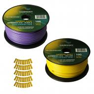 Harmony Audio Primary Single Conductor 12 Gauge Power or Ground Wire - 2 Rolls - 200 Feet - Yello...