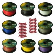 Harmony Audio Primary Single Conductor 18 Gauge Power or Ground Wire - 8 Rolls - 800 Feet - 8 Col...