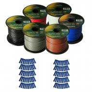 Harmony Audio Primary Single Conductor 16 Gauge Power or Ground Wire - 6 Rolls - 600 Feet - 6 Col...