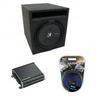 """Universal Car Stereo Slotted S Port Single 8"""" Kicker CompR CWR8 Loaded Sub Box Bundle with C..."""