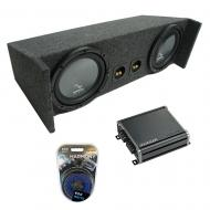 "1987-2006 Jeep Wrangler YJ TJ Harmony R104 Dual 10"" Loaded Sub Box Bundle with CX300.1 Amp &..."
