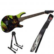 Peavey The Walking Dead Riot Rockmaster with Looking Walker Guitar Strap & Stand