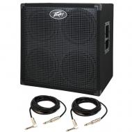 Peavey Headline 410 4x10 Bass Amp Cabinet with 15' Instrument Cables