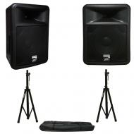 Peavey PR 12D Powered PA Speakers (2) with Tripod Stands
