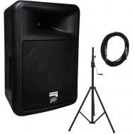 Peavey PR 12D Powered PA Speaker with Crank Tripod Stand and 15' Speaker Cable