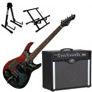 Peavey Bandit 112 Amp and Walking Dead Michonne Slash with Amp and Guitar Stands
