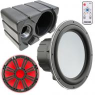 """Kicker 10"""" Marine Audio 4ohm Sub and Boat Enclosure with Charcoal LED Grill"""