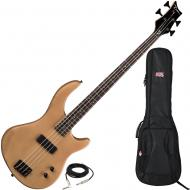 Dean Edge 09 Satin Natural Bass Guitar with Gator Backpack Style Gig Bag