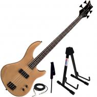 Dean Edge 09 Satin Natural Bass Guitar, Black Leather Strap, and Stand