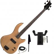 Dean Edge 09 Satin Natural Bass Guitar, Black Leather Strap, and Hanger Mount