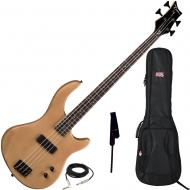 Dean Edge 09 Satin Natural Bass Guitar, Black Leather Strap, and Gig Bag