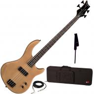 Dean Edge 09 Satin Natural Bass Guitar, Black Leather Strap, and Rigid Case