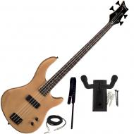 Dean Edge 09 Satin Natural Bass Guitar, Wide Leather Strap, and Hanger Mount